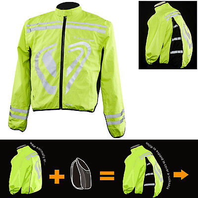 TwoZero Verso Cyclone Motorcycle Bike Waterproof Lightweight Over Jacket Hi Viz
