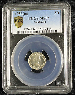 1956(m) Unc THREEPENCE Pre Decimal Australian 3d PCGS Graded - MS63 Uncirculated