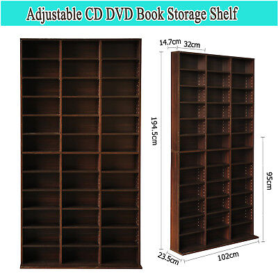 Adjustable CD DVD Book Storage Shelf Brown Particle board material with 36 Units