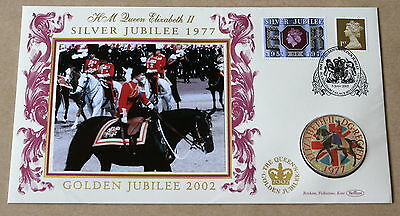 Queen's Golden Jubilee 2002 Benham Cover + 1977 Enamelled Crown Coin