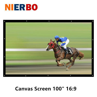 100 Inch Portable Screen Canvas Front Projection 3D with Eyelets Wall Mountable