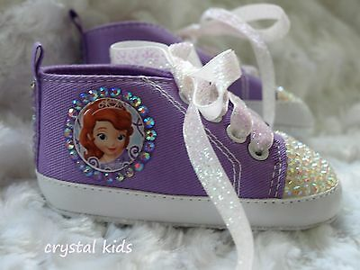 Baby Girls Reborn Lilac Bling Crystal Princess Sophia Shoes Boots 0 - 12 months