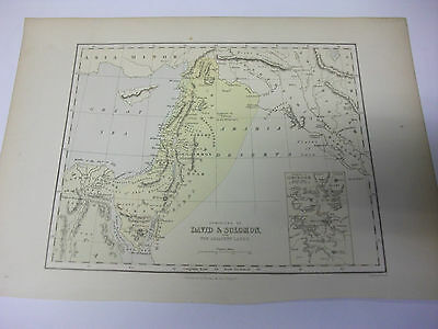 Hand Coloured Antique Map of JUDAH & ISRAEL W. hughes 34x24 cm