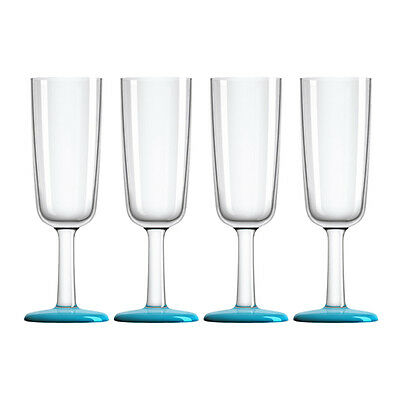 NEW Palm Marc Newson Blue Outdoor Champagne Flute Set 4pce
