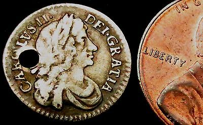 S398: 1674 Charles II Silver Twopence - Theatre Royal re-opens after Great Fire