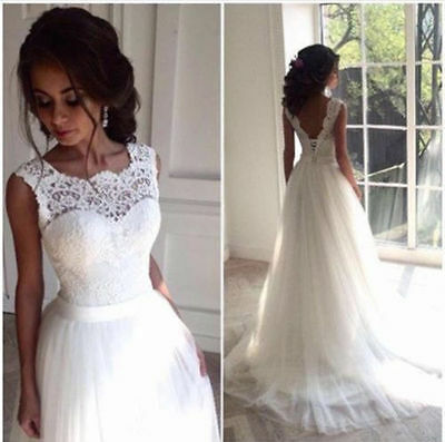 New White/ivory lace Wedding dress Bridal Gown size 6-8-10-12-14-16-18