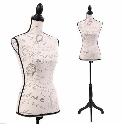 Female Mannequin Torso Clothing Display W/ Black Tripod Stand New Beige