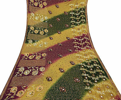 Vintage Indian Georgette Saree Green Hand Beaded Sari Craft Used Fabric 5 Yard