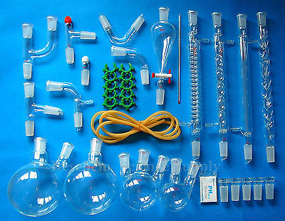 24/40,35PCS,New Advanced Organic Chemistry Glassware Kit,Laboratory Glass Unit