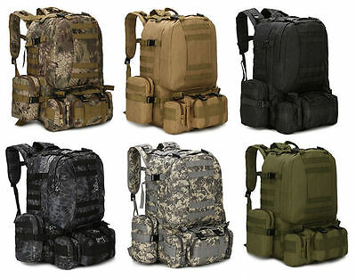 55L Molle Outdoor Military Tactical Bag Camping Hiking Trekking Backpack US LOT