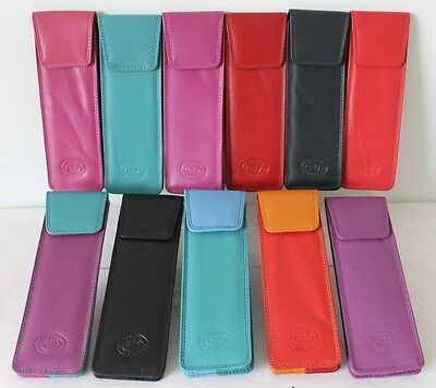 Genuine Soft Nappa Leather Pen or Glasses Holder Case Slim Pouch * 11 Colours