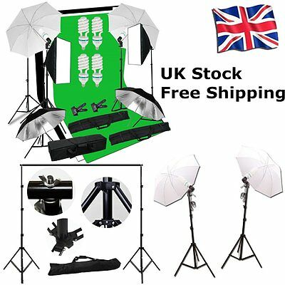 Studio Lighting Kit White Black Green Background & Light Stand Photography Set