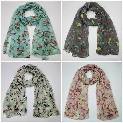 Women Warm Soft Long Voile Large Scarf Wrap Lady Leaves Birds Printed Shawl New
