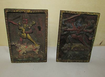 Antique Oriental Tibetan Wood Carving Sculpture Panel 2 pieces