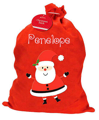 Personalised Embroidered Name Christmas Santa Sack Boy Girl New Gift Xmas Tree
