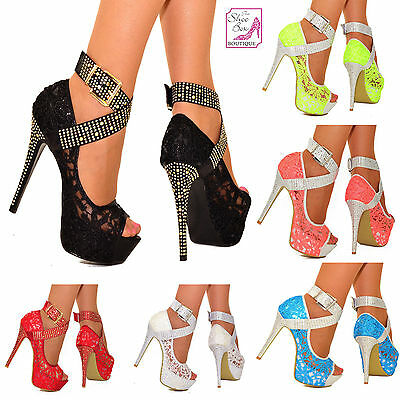 Ladies Lace Embellished Platform High Heels Stud Ankle Straps Party Shoes 3-10