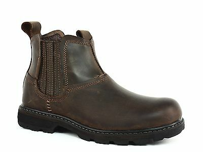 Skechers Blaine ORSEN Pull On Mens Work Casual Dark Brown Leather Boots