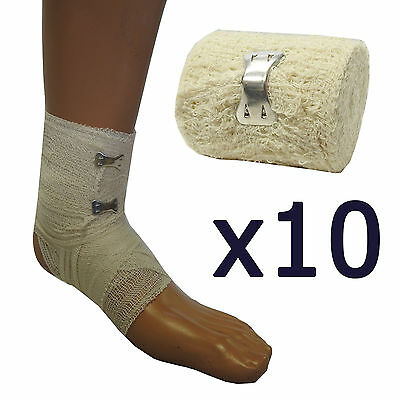 Pack of 10 Qualicare Durable Thick First Aid Dressing Cotton Crepe Bandages 5cm