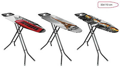 """Lightweight Folding Steam Ironing Board & Cover with Iron Rest 33x110cm (13x44"""")"""