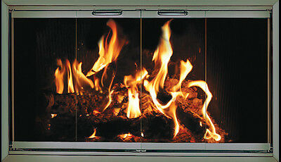 Pewter Fireplace Glass Doors for Temco fireplaces TE54-CV2 ...