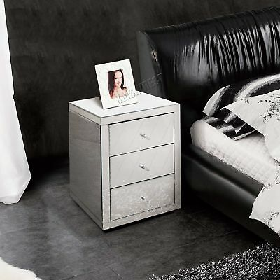 FoxHunter Mirrored Furniture Glass 3 Drawer Bedside Cabinet Table Bedroom MBC07