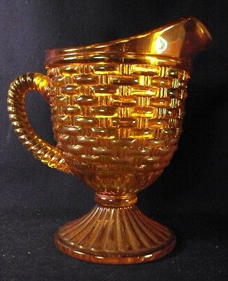 Imperial Carnival glass basketweave pattern tall footed creamer Marigold i
