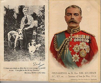Two WW1 silk postcards, Lord Kitchener and Edith Cavell. 1914-1918