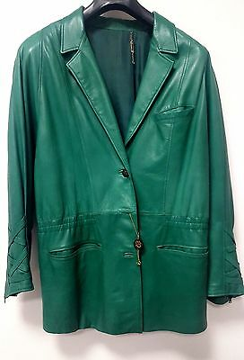 Giacca In Pelle Donna Vintage Made In Italy  Colore Verde Taglia 44