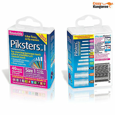 Piksters Interdental Purple Handle Size 1 Brush - Pack of 40