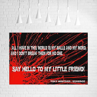 Scarface Film Movie Quotes Canvas #1 Home Decor Wall Art A1 A3 Canvas Pictures