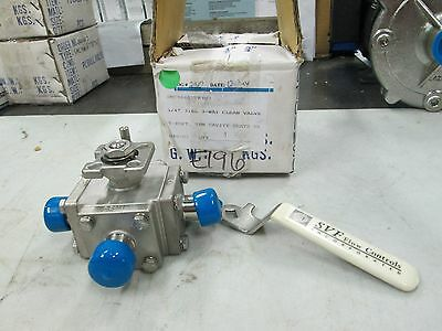 "SVF S/S Sanitary Flange 3-Way Ball Valve 3/4"" Sanitary Flange SMC9 6666 AT (NIB)"