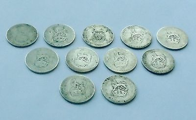 11 x Pre-1920 Silver Shilling Coins George V Reign