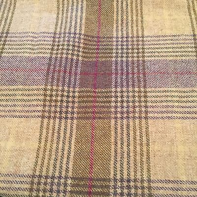 Abraham Moon Torrin Plaid Grape Check Upholstery Fabric 100% Wool M&s £22 P /m