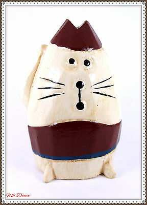 Cute Humorous Carved Wooden Funny Fat Cat Figurine / Ornament. Great Gift Idea!!