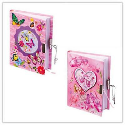 Brand New Ladies Girl Pink Glitter Butterfly/Ballet Shoe Lockable Blank A5 Diary