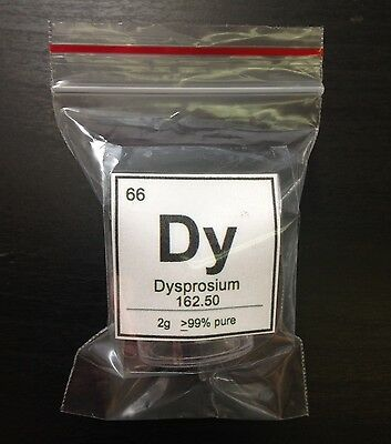Dysprosium Element Display Sample | 2g | 99% Pure | Element 66 Dy