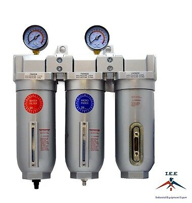 "3/4"" Compressed Air Inline Water Filter / Oilesser / Desiccant Air Dryer Combo"