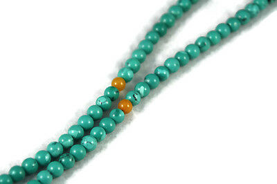 Turquoise Color Howlite Buddhist Prayer Beads Mala with Amber Accents