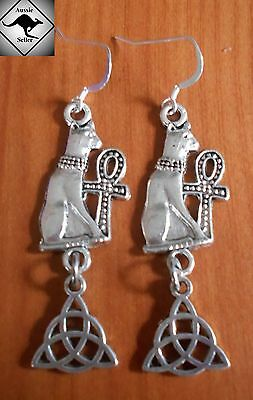 CAT Bast Ankh & Celtic Knot Earrings..925 Silver Hooks. Wicca, Pagan, Cat Lovers