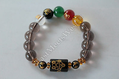 Men's Feng Shui Consecrated Kai Guang Blessed Natural Crystal 5 Element Bracelet