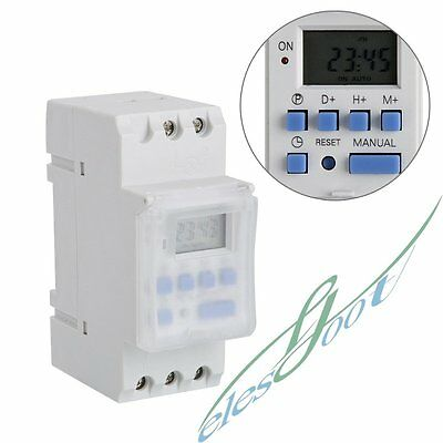 DIN Rail Digital Programmable Timer Switch Weekly Electronic LCD 220V 16A【US】