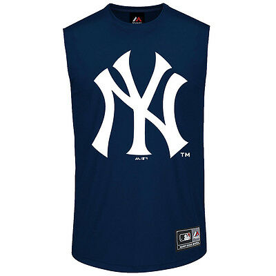 New York Yankees Majestic MLB Beurg Muscle T-Shirt - Navy