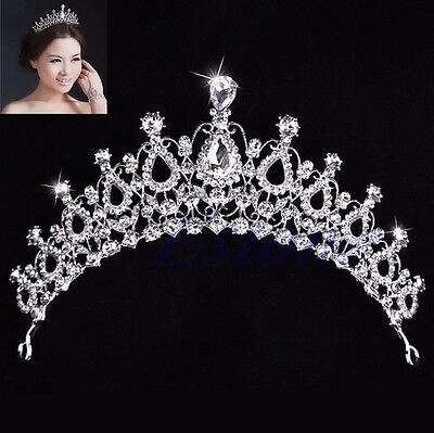 Rhinestone Bridal Wedding Princess Crystal Tiara Prom Hair Crown Veil Headband