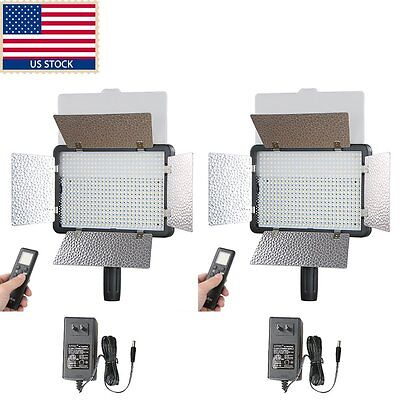 US 2x Godox LED500LRW 3300K-5600K LED Video Continuous Light Lamp F Photography