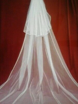 """New 2 Tier IVORY Wedding Bridal Veil CATHEDRAL Length With COMB  """"PROMOTED"""" (2B)"""