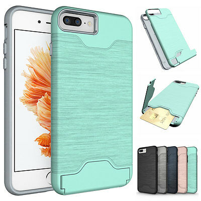 Slim Brushed Shockproof Case Credit Card Holder Cover Stand For iPhone 7 Plus