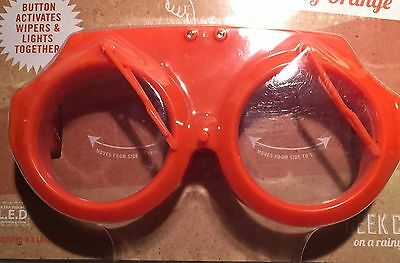 Really Silly Windscreen Wiper Disco Light Party Glasses Orange Christmas Gift