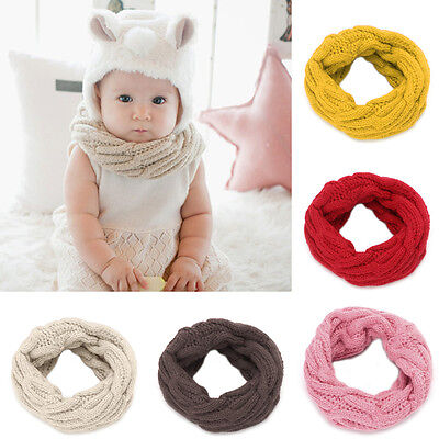 Winter Child Baby Boy Girl Knit Neck Warmer Round Scarf Wrap Neckerchief Scarves