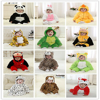 CUTE ANIMALS Baby Girls Boys Crawling Jumpsuit Flannel+Cotton Soft Warm Outfits