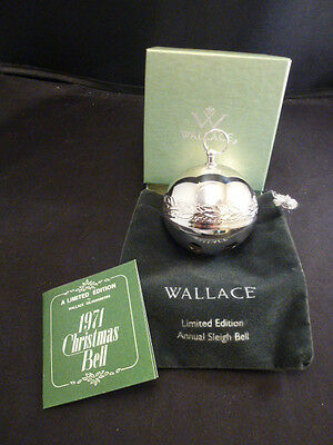 1971 Wallace #1 Limited Edition Silver Plated Sleigh Bell Christmas Ornament